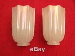 Vtg Opalescent Fluted Milk Glass Lamp Shade Globe Art Deco Antique Chatham Desig
