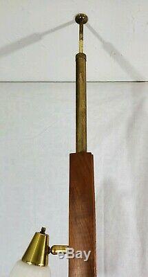 Vtg Original 3 Light Tension Pole Floor Lamp MCM Wood Glass Shades Retro Works