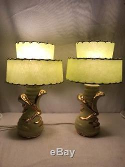 Vtg Pair 1956 C. Miller 50s Lime Green Boudoir Lamps Fiberglass 2 Tier  Shades