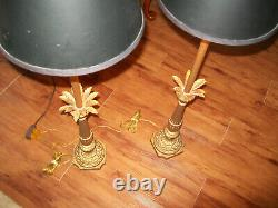 Vtg Pair Gilt Hollywood Regency Candlestick Table Lamps 40 with Org Black Shades