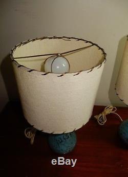 Vtg Pair Mid Century Modern Atomic Pottery Lamps blue gold w Shades fiberglass