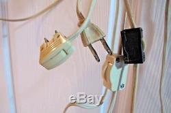 Vtg Pair Mid Century Modern Teak Swing Arm Wall Mount Hanging Lamps w Shades