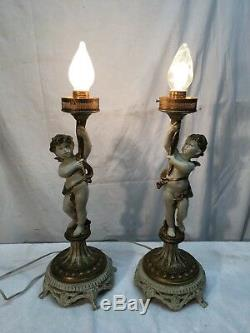 Vtg Pair cast metal cherub Parlor lamps Victorian Frosted glass shade Art