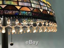 Vtg Stained Slag Glass Lamp Shade Arts & Crafts, Mission Large 20 Beaded Fringe