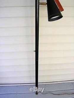Vtg Stiffel Raymond Loewy Mid Century Black Tension Pole Lamp Cone Shades