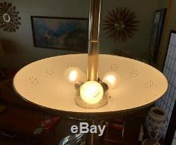 Vtg Tension Pole Lamp Torchiere Torchpole Column Light Pierced Metal Shades MCM