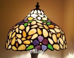 Vtg Tiffany Style Floral Stained Glass Lamp Shade