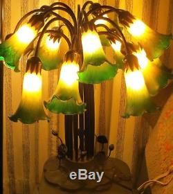 Vtg Tiffany Style Large Table Lamp 15 Light Lily Stained Blown Art Glass Shades