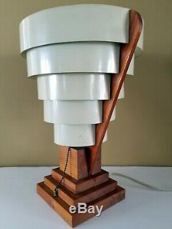 Vtg Unique Mid Century Skyscraper Table Lamp Shade 1960s Unusual MCM Beauty Rare