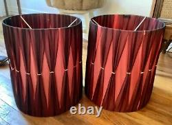 Vtg table Lamp Shade Pair 50s 60s mid century modern retro drum
