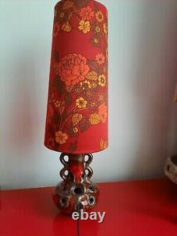 West German Lamp Base And Matching 70s Fabric Lampshade retro mid century 60s
