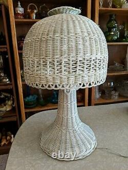 Works! Vintage White Wicker Rattan Lamp with Matching Shade